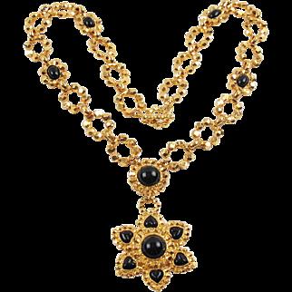 Edouard Rambaud Paris Signed Extra Long Necklace Vintage  Byzantine Black Cabochon