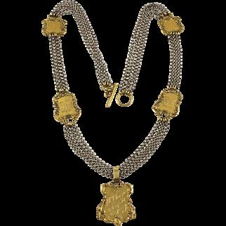 Zoe Coste Paris Long Multi-Strand Necklace Vintage Gilt Medallion