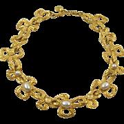 Vintage Lanvin Paris Signed Choker Necklace Pearl Imitation & Glass
