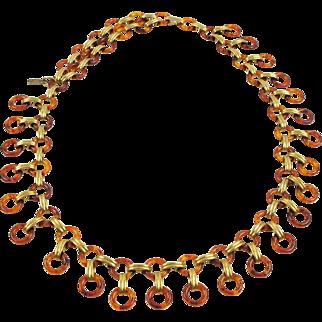 Yves Saint Laurent Paris Necklace Waist/Hip Belt Vintage Tortoise Lucite & Brass