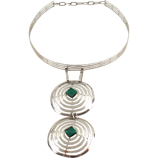 Mid Century Space Age Dog Collar Necklace Chrome & Green Glass Cabochon