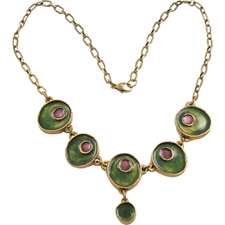 Mid Century Modern Gilded Bronze & Enamel Choker Necklace Green & Purple Color