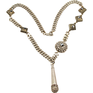 Jean Paul Gaultier Paris Signed Chain Necklace Vintage rare Jeweled Medallions