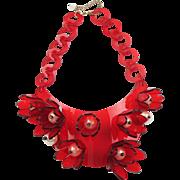 Vintage 1980s Italian Designer Red Lucite Bib Necklace Huge Flowers & Pearl