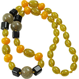 Bakelite Lucite Necklace Extra Long Shape Black Yellow Glitter Beads