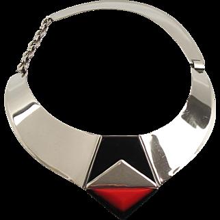 Fabrice Paris Signed Necklace Art Deco Revival Chrome, Enamel, Resin