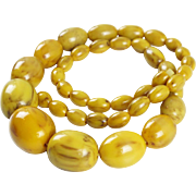 Vintage Bakelite Necklace olive beads rare macaroon pecan marble color