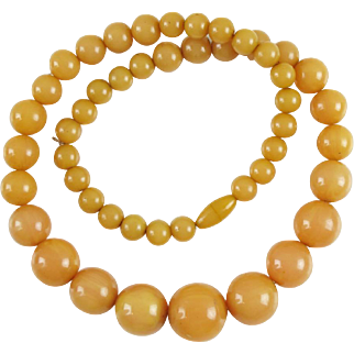 Vintage Bakelite long Necklace round beads rare cantaloupe orange color
