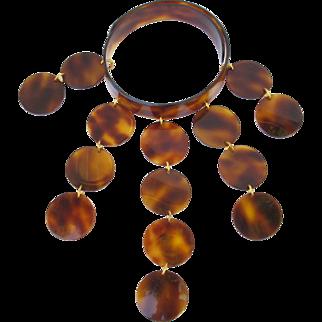 Courreges style Celluloid Collar necklace Vintage 70s Space Age faux tortoise