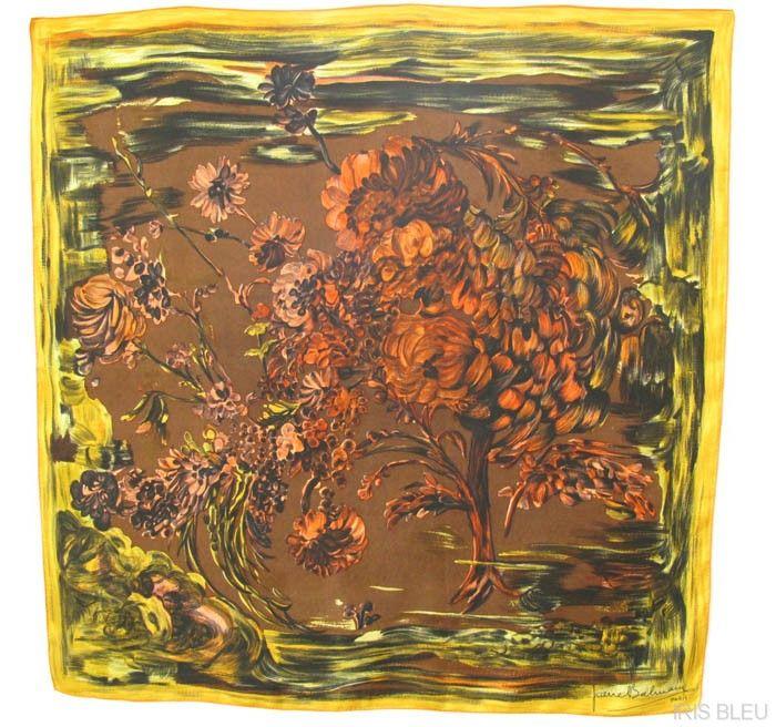 Pierre Balmain Vintage 100% Silk Scarf colorful 50's floral design