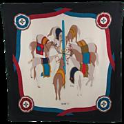 Celine Paris vintage Silk Scarf Equestrian horses colorful design print