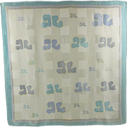 Courreges signed 100% pure Silk Scarf vintage 1970s crepe de chine pastel brand logo