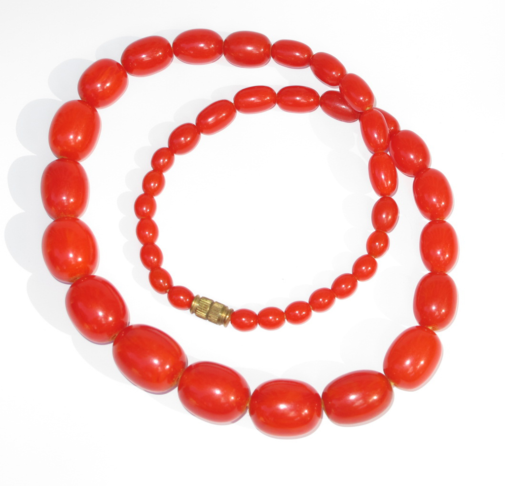 Vintage Bakelite Necklace bright red marble olive beads graduated shape