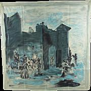 1950s Jeanne Lanvin Paris silk scarf designed by Castillo
