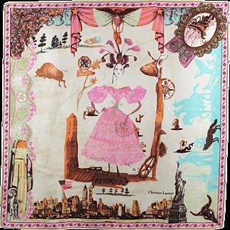 Vintage Christian Lacroix Silk Scarf America Design Pink Colors