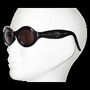 Rare Emmanuelle Khanh Vintage Sunglasses EK Paris Black Frame Clear Rhinestones