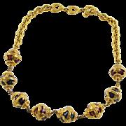 Yves Saint Laurent YSL signed Necklace rare Vintage gold plate enamel baroque beads