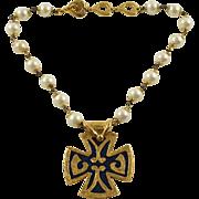 Yves Saint Laurent YSL signed Necklace rare Vintage gold plate enamel cross pendant