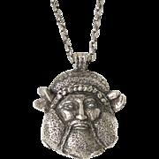 Guy Laroche Paris signed Necklace rare Vintage modernist huge silvertone pendant