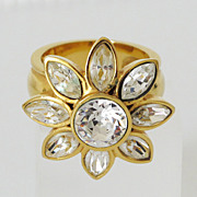 Auth Vintage 1980's Yves Saint Laurent YSL Cocktail gold crystal Ring size 7.75