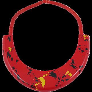 Vintage Guillemette L'Hoir Paris Galalith Red & Black Necklace Francois Schoenlaub Pavone