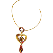 Christian Lacroix Paris signed Vintage gold-plated rhinestone heart pendant Necklace