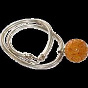 Bakelite Art Deco Necklace vintage butterscotch carved pendant silver-plate snake chain