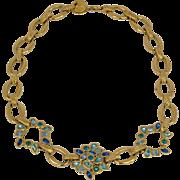 Yves Saint Laurent Paris signed vintage necklace goldtone blue green rhinestone