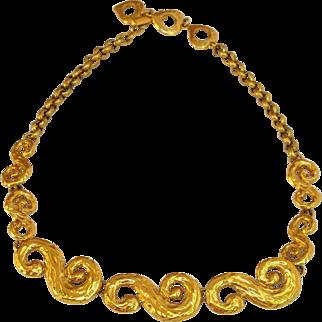 Yves Saint Laurent Paris Signed Necklace Vintage Goldtone Chain Goossens Design