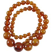 Vintage Bakelite long Necklace round beads rare honey amber marble color