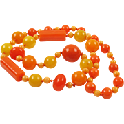Vintage Bakelite Necklace Extra Long Shape Colorful Sunny Colors marble beads