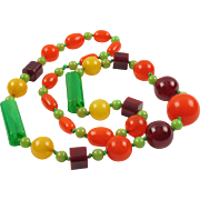 Vintage Bakelite Necklace Extra Long Shape Tutti Frutti Colors marble beads