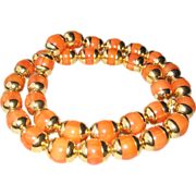 Vintage Art Deco Bakelite Necklace tangerine marble beads gold accents 149gm