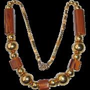 Vintage Art Deco Bakelite Necklace chocolate sundae marble goldtone bead