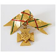 Yves Saint Laurent YSL Rive Gauche Vintage goldtone enamel Pin Brooch Necklace