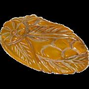 Vintage Bakelite Pin Brooch Clip deeply carved geometric floral green marble