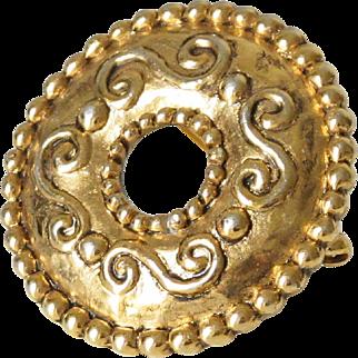 Jean Louis Scherrer Paris Signed Pin Brooch Vintage Baroque Gold-tone Donut