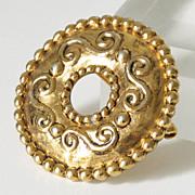 Jean Louis Scherrer Paris signed Vintage Baroque Couture goldtone Pin Brooch