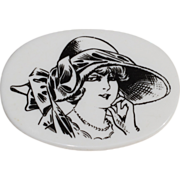 Lea Stein Vintage Serigraphy Plastic Pin Brooch black & white elegant woman