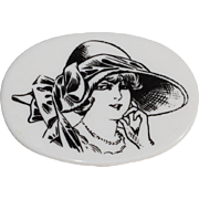 Lea Stein Serigraphy Plastic Pin Brooch Vintage black & white stylish woman