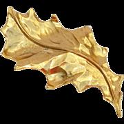 Yves Saint Laurent YSL signed Pin Brooch Necklace Vintage goldtone carved leaf