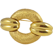 Givenchy Paris Signed Vintage Pin Brooch goldtone textured geometric shape