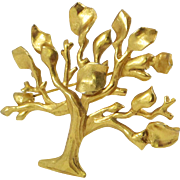 Vintage Antigona Paris Signed Pin Brooch rare gilt metal large tree of life