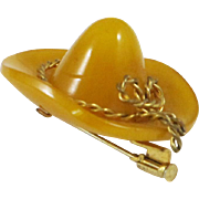 Bakelite Hat Pin Brooch rare vintage deeply carved butterscotch marble gilded brass rope