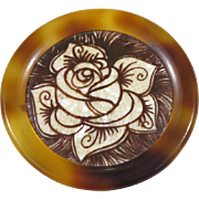 Rare Vintage Lea Stein Serigraphy Acetate cellulose Pin Brooch stylized rose design sepia tone