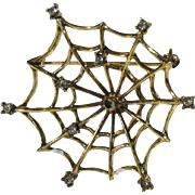 Jeanne © Signed Pin Brooch Vintage Gold-tone Spider Web Clear Rhinestone