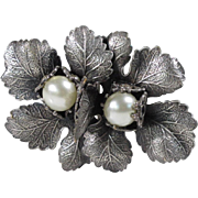 Vintage Art Deco Floral Pin Brooch Clip Carved Silver Plate Pearl Signed Paris