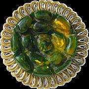 Vintage Bakelite Pin Brooch Clip deeply carved turtle design Art Deco green marble