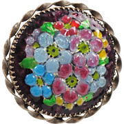 Vintage Limoges France Pin Brooch Enamel Tutti Frutti Flower Signed Vergnolle