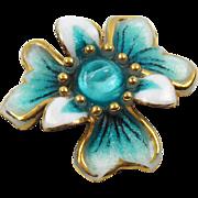 Vintage Limoges France Pin Brooch Enamel Turquoise White Flower Signed Buvaud